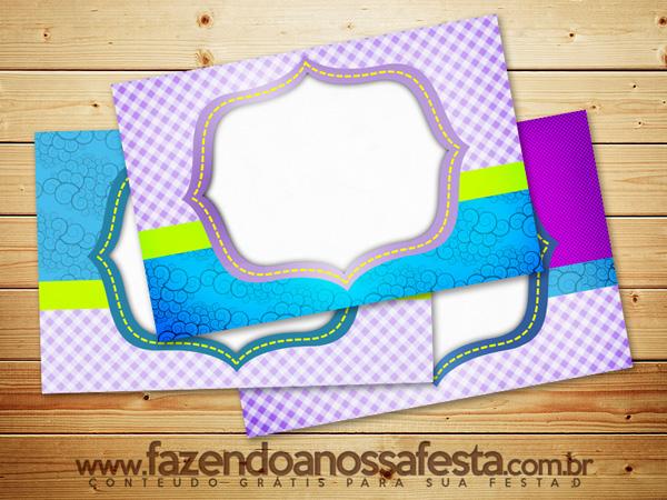 Azul e Lilás Xadrez - Kit Completo Digital