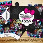 Monster High Preto – Kit Completo Digital com molduras para convites, rótulos para guloseimas, lembrancinhas e imagens!