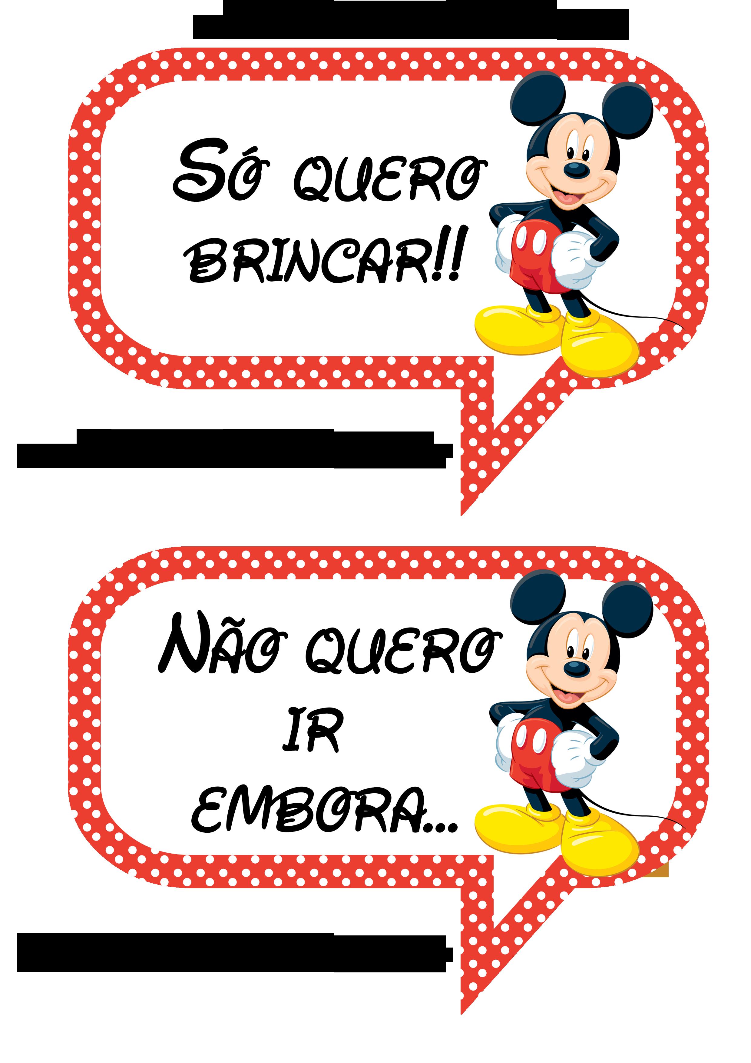 Plaquinhas Divertidas Para Fotos Do Mickey Mouse