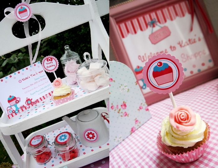 hello kitty party tea shoppe cupcake toppers