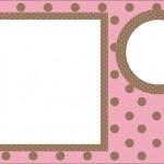 Marrom e Rosa com Bolinhas Poá – Kit Completo com molduras para convites, rótulos para guloseimas, lembrancinhas e imagens!