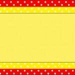 Poá Vermelho e Amarelo – Kit Completo com molduras para convites, rótulos para guloseimas, lembrancinhas e imagens!