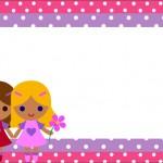 Bonecas Rosa e Lilás – Kit Completo com molduras para convites, rótulos para guloseimas, lembrancinhas e imagens!