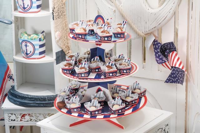 Torre de Cupcakes tema Marinheiro: