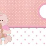 Chá de Bebê Menina com Ursinho – Kit Completo com molduras para convites, rótulos para guloseimas, lembrancinhas e imagens!