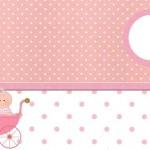 Chá de Bebê Menina no Carrinho – Kit Completo com molduras para convites, rótulos para guloseimas, lembrancinhas e imagens!