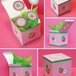 Caixa e Topper Cupcakes Morango e Flores