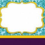 Azul Arabesco Roxo e Dourado – Kit Completo com molduras para convites, rótulos para guloseimas, lembrancinhas e imagens!