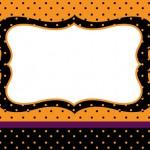 Poá Preto e Laranja – Kit Completo com molduras para convites, rótulos para guloseimas, lembrancinhas e imagens!