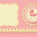 Carrinho de Bebê Menina – Kit Completo com molduras para convites, rótulos para guloseimas, lembrancinhas e imagens!