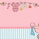 Chá de Bebê ou Chá de Fraldas Menina – Kit Completo com molduras para convites, rótulos para guloseimas, lembrancinhas e imagens!