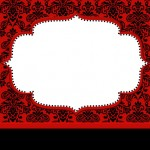 Vermelho Arabesco e Preto – Kit Completo com molduras para convites, rótulos para guloseimas, lembrancinhas e imagens!