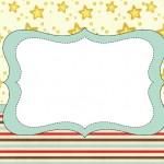 Fundo Estrelas e Listras Azul, Vermelho e Marrom – Kit Completo com molduras para convites, rótulos para guloseimas, lembrancinhas e imagens!