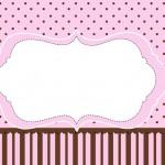 Poá e Listras Rosa e Marrom – Kit Completo com molduras para convites, rótulos para guloseimas, lembrancinhas e imagens!