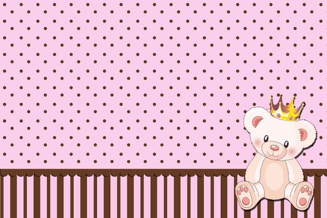 Ursinha Princesa - Kit Completo com molduras para convites, rótulos