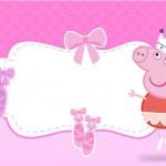 Peppa Pig Bailarina – Kit Completo Digital com molduras para convites, rótulos para guloseimas, lembrancinhas e imagens!