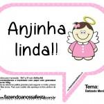 Plaquinhas Divertidas para Batizado Menina (Anjinha Morena)!