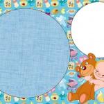 Chá de Bebê e Nascimento Menino com Ursinho – Kit Completo com molduras para convites, rótulos para guloseimas, lembrancinhas e imagens!