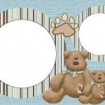 Ursinho Teddy Bear Azul e Marrom – Kit Completo com molduras para convites, rótulos para guloseimas, lembrancinhas e imagens!