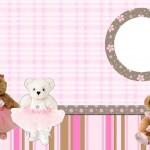 Ursinhas Teddy Bear Bailarinas Marrom e Rosa – Kit Completo com molduras para convites, rótulos para guloseimas, lembrancinhas e imagens!