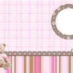Ursinha de Pelúcia Marrom e Rosa – Kit Completo com molduras para convites, rótulos para guloseimas, lembrancinhas e imagens!