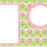 Flores com Fundo Rosa e Verde – Kit Completo com molduras para convites, rótulos para guloseimas, lembrancinhas e imagens!