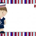 Menino Marinheiro Azul e Vermelho – Kit Completo com molduras para convites, rótulos para guloseimas, lembrancinhas e imagens!