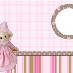Ursinha Princesa Marrom e Rosa – Kit Completo com molduras para convites, rótulos para guloseimas, lembrancinhas e imagens!