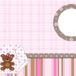 Cha de Fraldas e Nascimento Menina Ursinha Marrom e Rosa – Kit Completo com molduras para convites, rótulos para guloseimas, lembrancinhas e imagens!