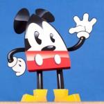Mickey 3D em formato de lágrima para recortar e colar