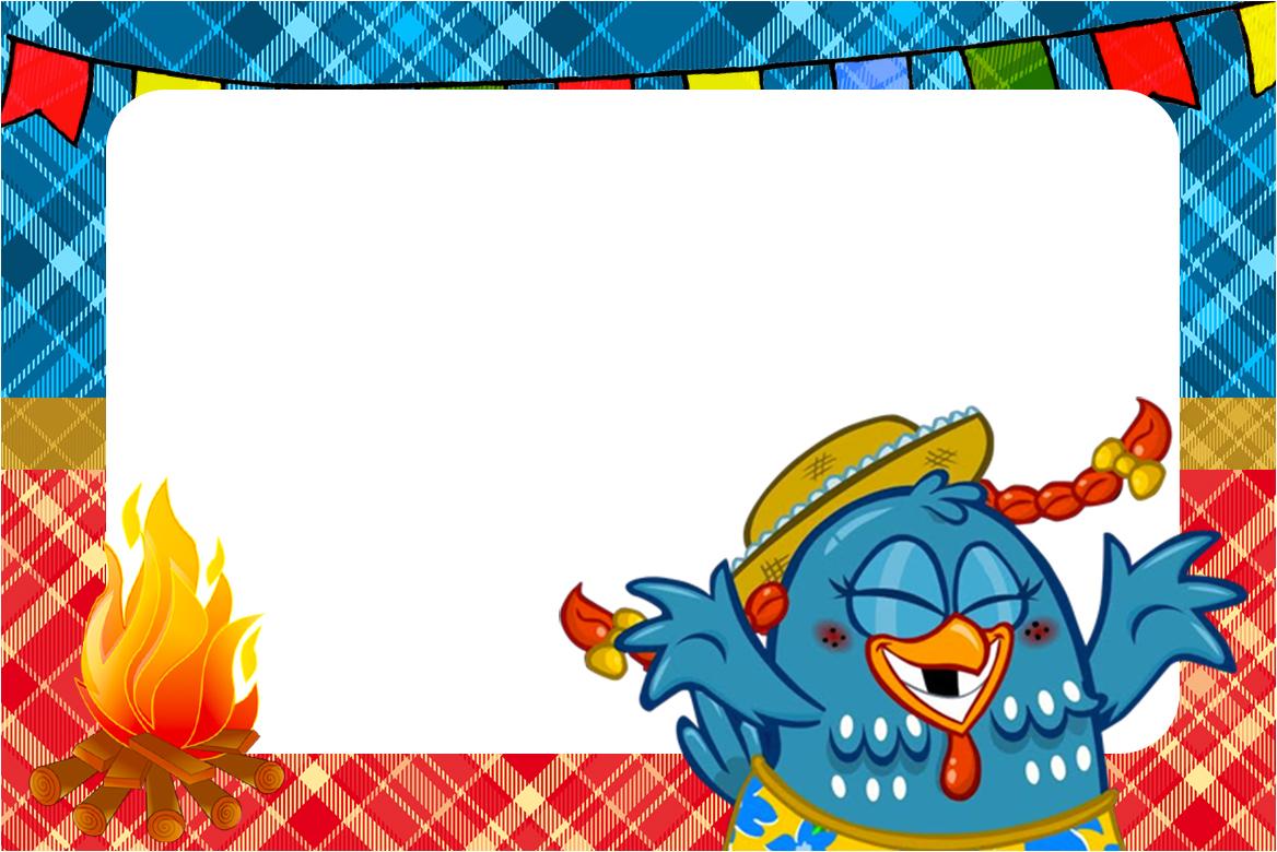 Convite, Moldura e Cartão Galinha Pintadinha na Festa Junina: