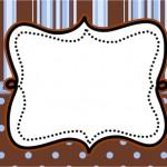Fundo Marrom e Azul – Kit Completo com molduras para convites, rótulos para guloseimas, lembrancinhas e imagens!