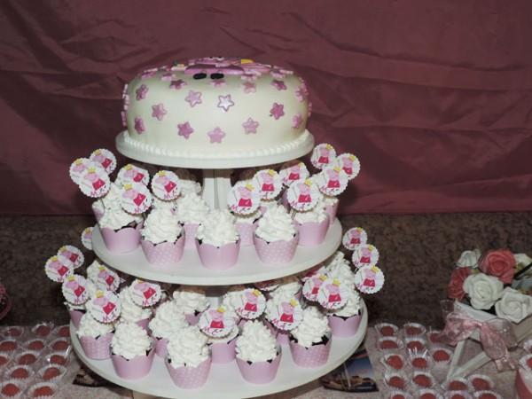 Bolo e Cupcakes Peppa Pig Princesa: