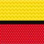 Poá Vermelho e Listras Amarelo – Kit Completo com molduras para convites, rótulos para guloseimas, lembrancinhas e imagens!