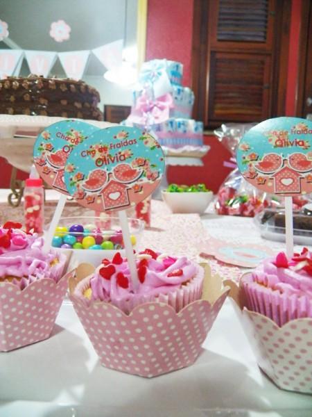 Cupcakes Jardim Encantado Decoração Chá de Fraldas Jardim Encantado: