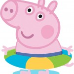 Peppa pig e george pig vestidos de personagens famosos for Piscina de peppa pig