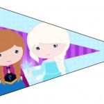 Bandeirinha Sanduiche 3 Frozen Cute Roxo e Azul