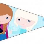 Bandeirinha Sanduiche 4 Frozen Cute Roxo e Azul