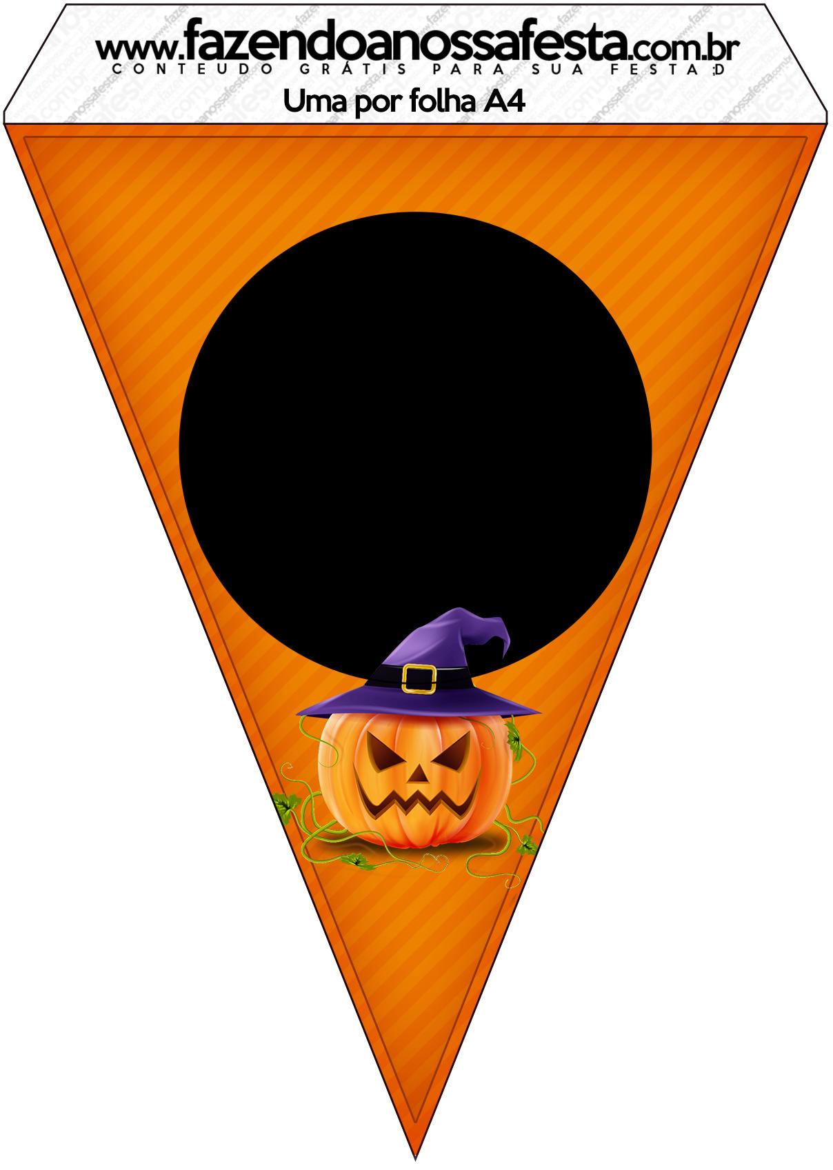 Bandeirinha Varalzinho Halloween Abóbora - Fazendo a Nossa Festa