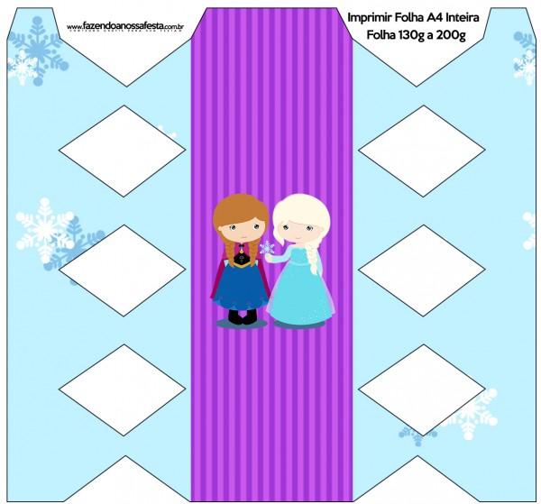 Caixa Bala Frozen Cute Roxo e Azul