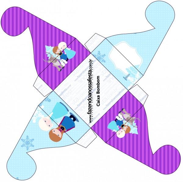 Caixa Bombom Frozen Cute Roxo e Azul