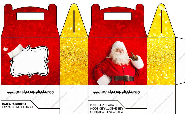 Caixa Lembrancinha Surpresa Natal Papai Noel Fazendo A Nossa Festa