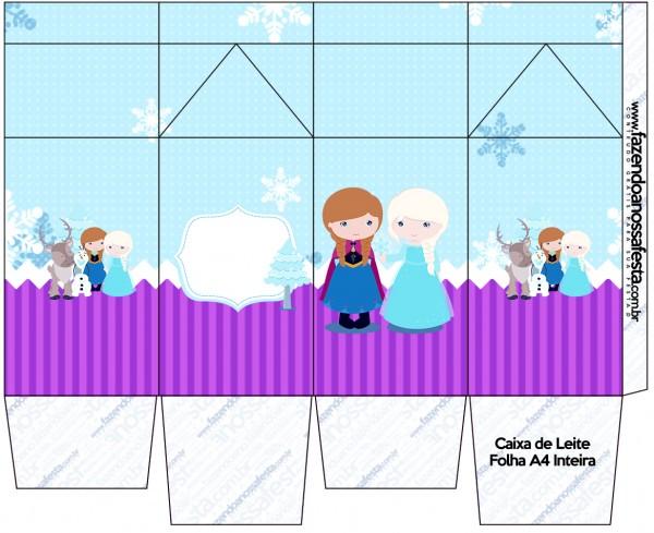 Caixa de Leite Frozen Cute Roxo e Azul