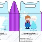 Caixa para Lembrancinha Frozen Cute Roxo e Azul