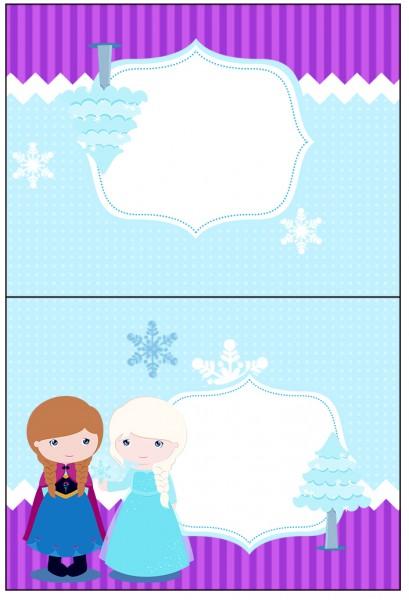 Cartão Agradecimento de Mesa Frozen Cute Roxo e Azul