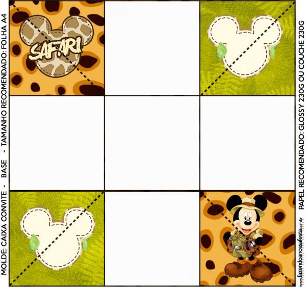Convite Caixa Fundo Mickey Safari