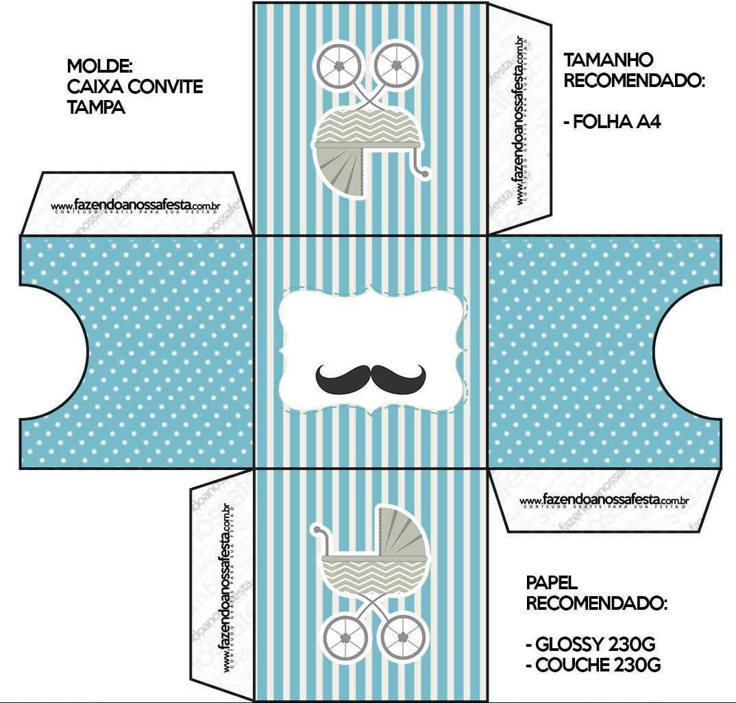 convite caixa tampa ch de beb mustache   fazendo a nossa
