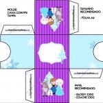 Convite Caixa Tampa Frozen Cute Roxo e Azul