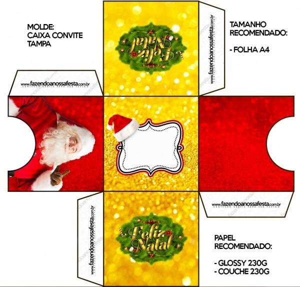 Convite Caixa Tampa Natal Papai Noel