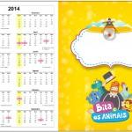 Convite Calendário 2014 Bita e os Animais para Meninos 1